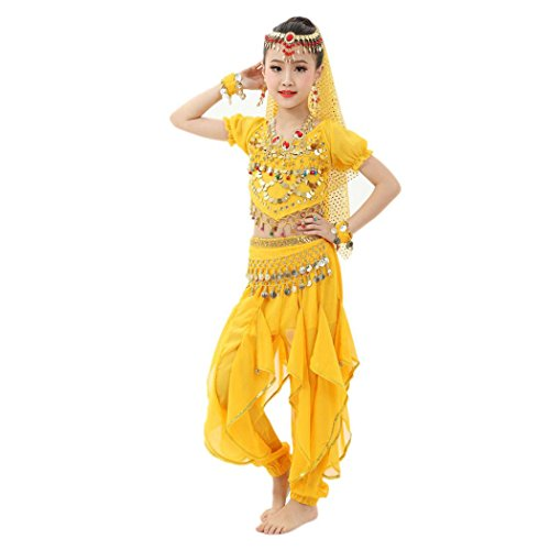 [Baby Dance Dresses, Inkach Kids Girls Belly Dance Chiffon Dresses Egypt Dance Costume Clothing Outfit (S,] (Cute Kids Dance Costumes)