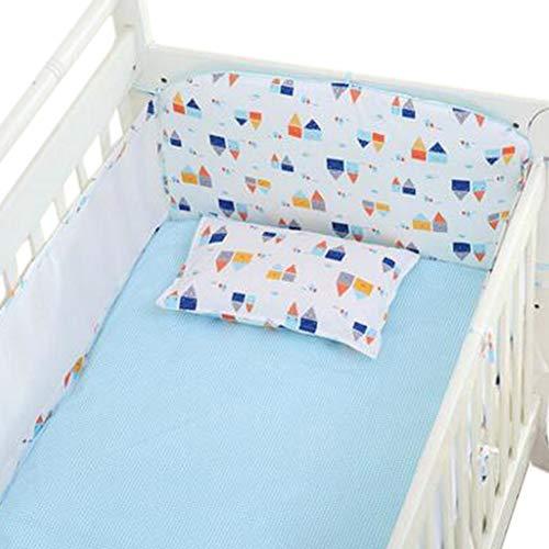 Set of 4 Nursery Baby Bassinet/Crib Bedding Bumper Kids Safety Cushion Blue Castle