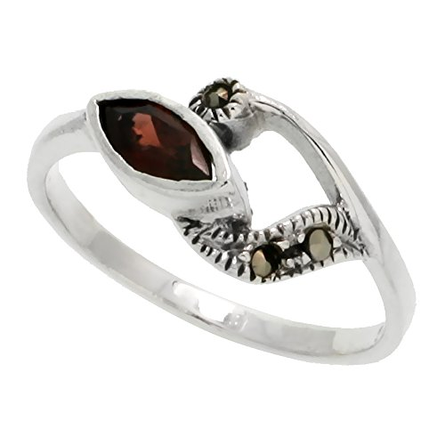 Sterling Silver Marcasite Freeform Ring, w/ Natural Garnet, 3/8 inch (10 mm) wide, size - Ring Marcasite Garnet