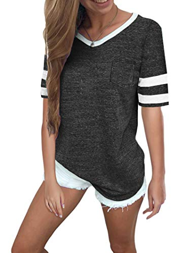 Twotwowin Women's Summer Tops Casual Cotton V Neck Sport T Shirt Short Sleeve Blouse(DGA-XXL) Dark Grey