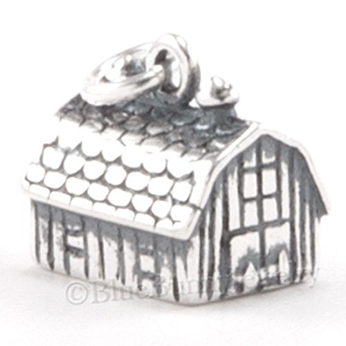BARN Charm Pendant Animal Farm horse stable STERLING SILVER .925 925 3D Jewelry Making Supply Pendant Bracelet DIY Crafting by Wholesale Charms