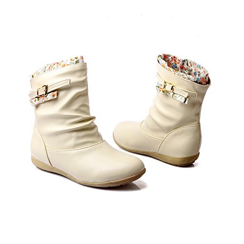 Solid Round Boots Soft Allhqfashion top Closed Women's Beige Low Low Material Heels Toe OnnwvHqR