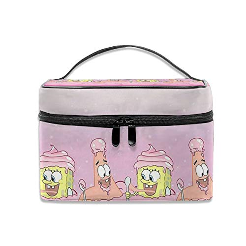 LCXjj Spongebob Squarepants Multifunction Travel Makeup Case,Professional Cosmetic Makeup Bag Organizer Makeup Boxes,Toiletry Jewelry for Women -