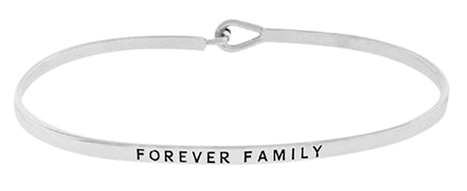 """FOREVER FAMILY"" Silver Tone Engraved Thin Brass Bangle Hook Bracelet for Loved Ones"