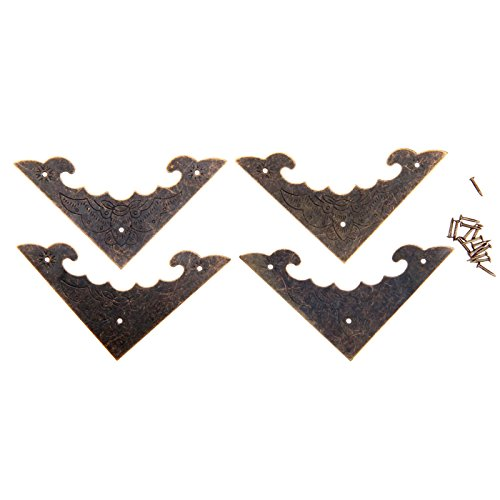 Dophee 4Pcs 58x58mm Vintage Metal Decorative Furniture Jewelry Box Corner Bracket Desk Edge Cover