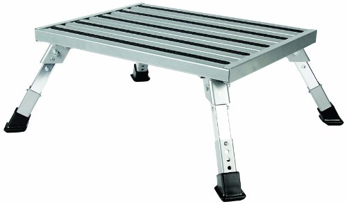 Camco Adjustable Height Aluminum Platform Step- Supports Up to 1,000lbs, Includes Non-Slip Rubber Feet, Durable Construction, Easy Storage and Transport (43676) - Trailer Step