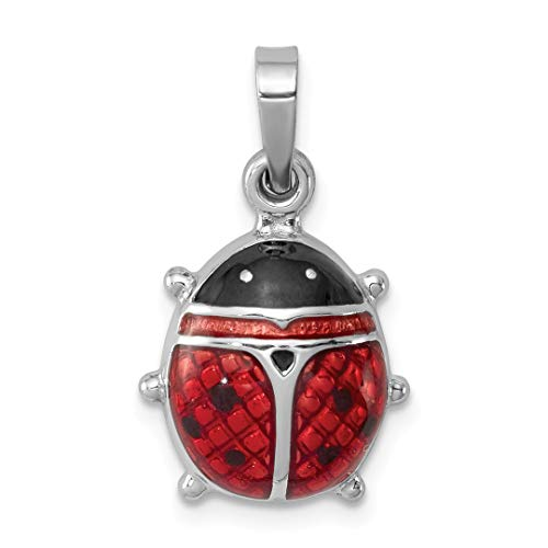 925 Sterling Silver Enameled Ladybug Pendant Charm Necklace Insect Fine Jewelry Gifts For Women For Her -