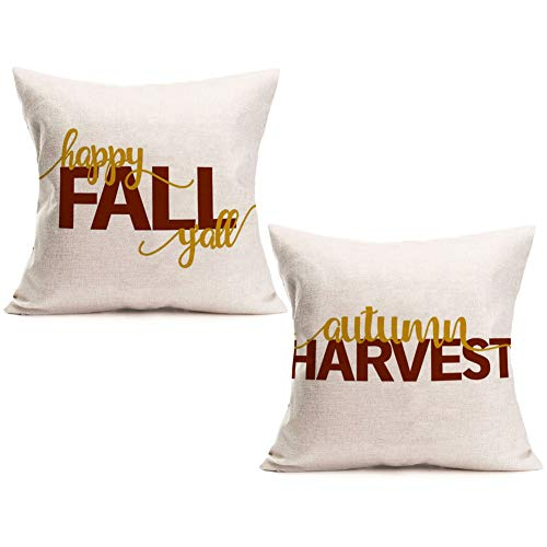 Asamour Happy Fall Quotes Throw Pillow Covers Cotton Linen Autumn Harvest Halloween Thanksgiving Gift Home Decor Pillowcases Season Greetings Words Cushion Cover Square Pillow Case for Sofa 18''x18'']()