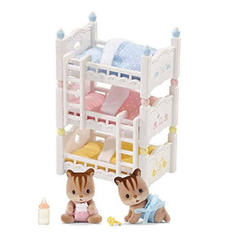 Calico Critters Hazelnut Chipmunk Twins and Triple Baby Bunk Beds - Bundled by Maven Gifts
