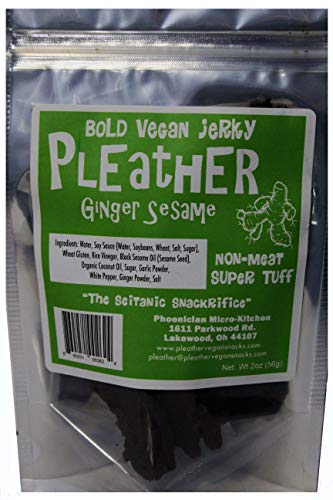 Ginger Sesame Seitan Vegan Jerky 2 Oz - Hand Made - Savory Extra Tough Texture