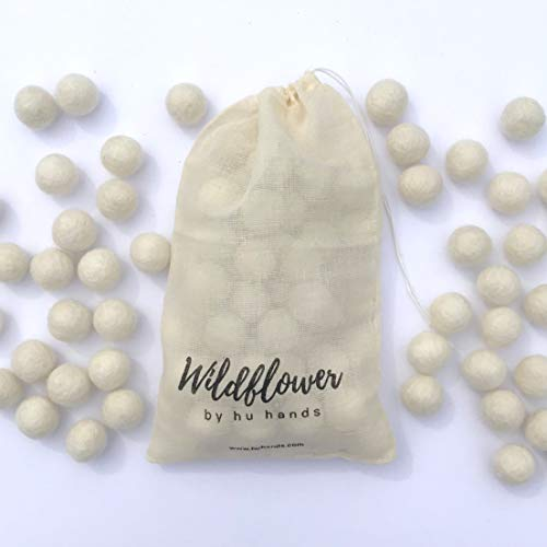 Wildflower by Hu Hands 100% Handmade Wool Felt Pom Poms - Natural White - (50) Pure New Zealand Wool Felt Balls - DIY Pompoms - 2cm - 0.8