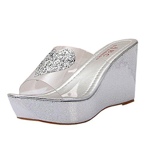Ularma Rhinestones pendiente ojotas sandalias de las mujeres plata