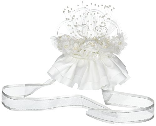 Darice VL1842W Double Hearts Glass Swans with Lights Wedding Cake Topper ()