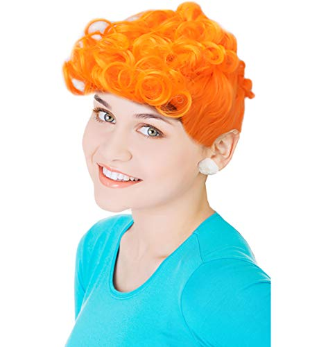 Cartoon Orange Wilma Wig Wilma Wilma Costume Wig with Bun