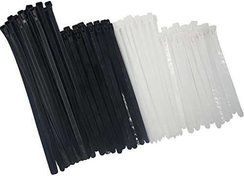 bed3582253b7 Reusable Releasable Adjustable Nylon Cable Zip Ties 100 PACK  6+8(Small)+8+10 Inch Assorted Black & White, Self-Locking Plastic Wire Ties  for Organization, ...