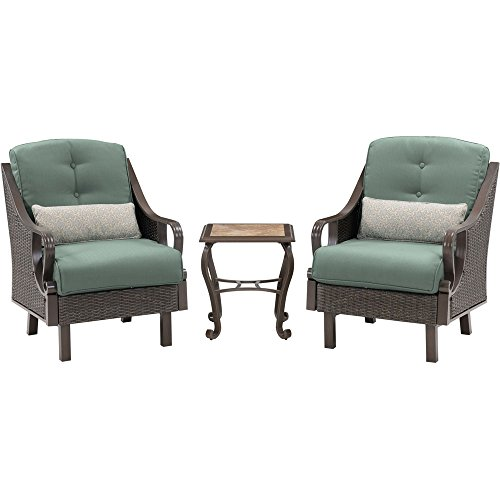 Hanover Outdoor Ventura 3 Piece Chat Set, Ocean Blue - Ocean Wicker End Table