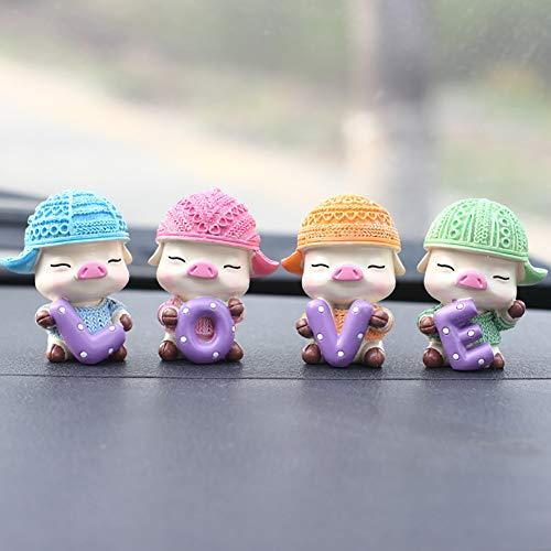 SuBoZhuLiuJ Car Interior Decor Ornament,4Pcs Pig Mascot Love Car Dashboard Mini Ornament Good Luck Blessing Home Decor