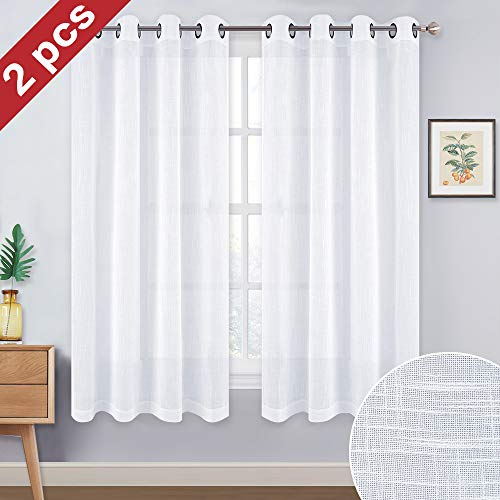 NICETOWN Sheer Curtains for Small Window - Thick Linen Look Window Covering Semi-Voile Drapes for Laundry with Grommet Top (White, 52 Inch Width, 45 Inch Length, 1 Pair (Covering Window Kitchen)