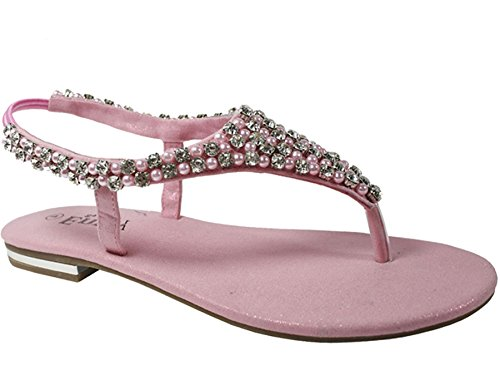 Womens flat sandals diamante pearl ladies sling back holiday casual party shoes Pink VgGjeJmvP