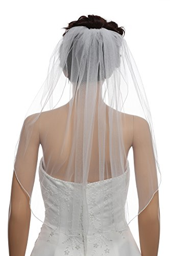 1T 1 Tier Hemmed Pencil Edge Bridal Wedding Veil -Ivory Shoulder Length 25' V523