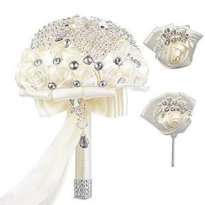 MARJON FlowersHandcraft Rhinestone Ivory Satin Wedding Flower 3 PC Set Bridal Bouquets Birdemaid Wrist Corsage Boutonniere Brooch for Wedding Decor (Ivory Set) 9
