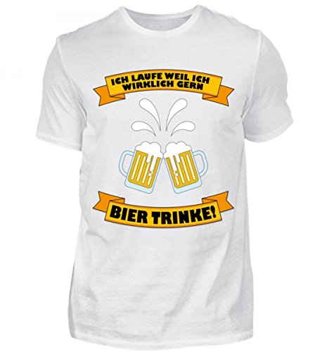 Hochwertiges Herren Premiumshirt - Ich Laufe weil ich GERN BIER TRINKE