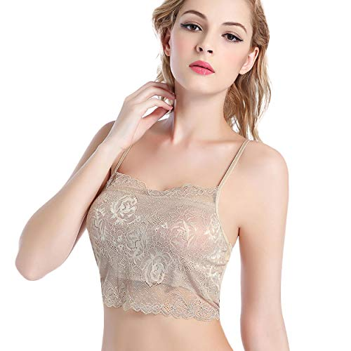 LilySilk Silk Lace Bra for Women Padded Elegant Anti-Emptied Wrapped Chest Wire Free Lightweight Soft Lingerie Taupe S