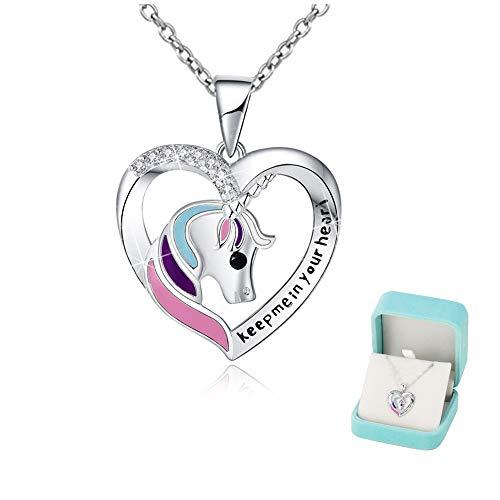 Collar de unicornio Chicas Corazón Joyería de plata 'Keep me in your heart' Colgantes Brillante circón Regalo unicornio…