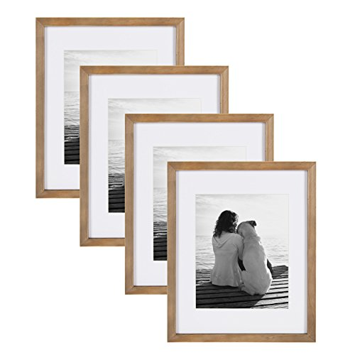 DesignOvation Gallery Wood Photo Frame Set for Customizable Wall Display, Pack of 4, 11x14 matted to 8x10, Rustic Brown]()