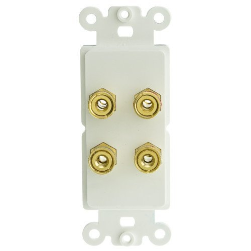 cable Decora Wall Plate Insert White 4 Banana Plug Binding P