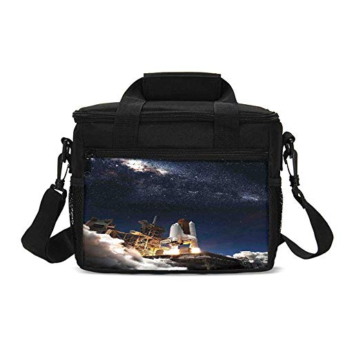Galaxy Durable Lunch Bag,Shuttle on Take off Discovery Mission to Explore Galaxy Spaceship Solar Adventure for Picnic Travel,9.4