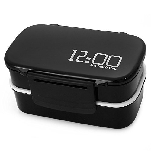 Lunch Time Japan style Double Tier Bento Lunch Box 4 Color Large Meal Box Tableware Microwave Dinnerware Set (Coffee) (ฺฺBlack)
