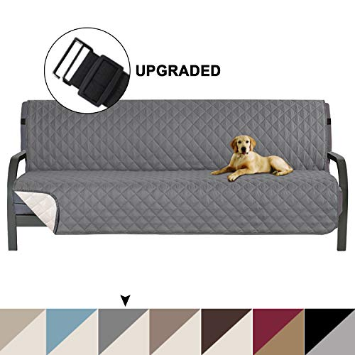 """Turquoize Pet Friendly Reversible Furniture Sofa Futon Protector, Seat Width to 70"""" Sofa Covers for Living Room, Couch Covers for 3 Cushion Futon for Dogs Cover,Furniture Protector, Futon, Gray/Beige"""