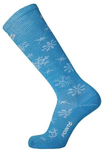 point6 Ski Blizzard Ultra Light OTC Ski Socks, Caribbean Blue, Large