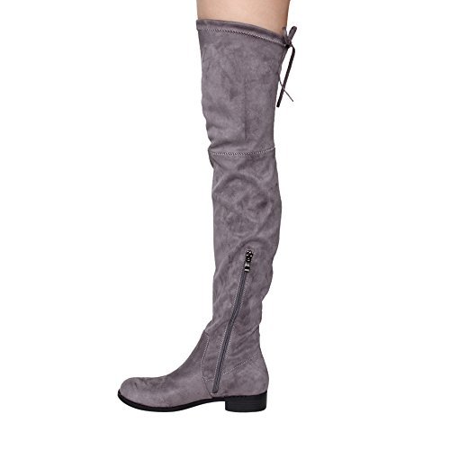Beston GF59 Womens Drawstring Tie Low Heel Side Zipper Thigh High Stretch Boots Grey rOHLT
