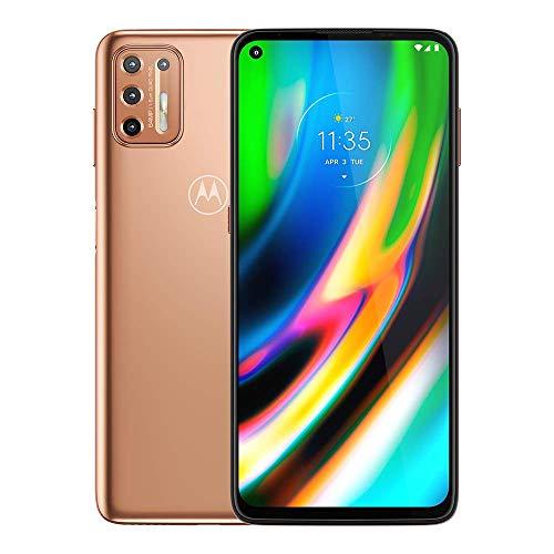 "Moto G9+ Plus (128GB, 4GB) 6.84"" FHD+, 5000mAh Battery, Snapdragon 730, 4G LTE GSM Factory Unlocked (AT&T, T-Mobile, Metro, Straight Talk) International Model, XT2087-1 (Rose Gold, W/ 64GB SD Bundle)"