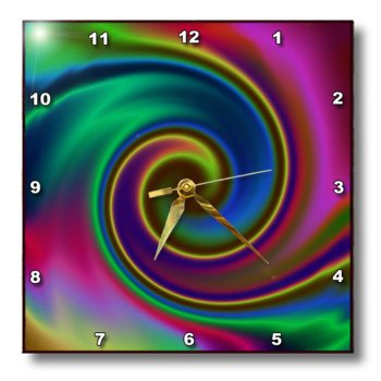 Psychedelic Swirl, Super Groovy Psychedelic Swirls of Color-Wall Clock,