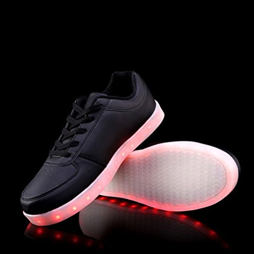 Flash Colors Unisex Zapatillas Luz Negro Presente 7 de Zapatos LED Luminosas a USB Cut Toalla Carga Low De junglest Peque W61Rq7xf