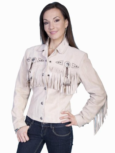 Scully Women's Fringe and Beaded Boar Suede Leather Jacket Chocolate XX-Large
