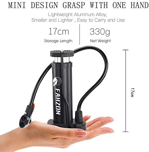 FAHZON Bike Pump Bicycle Floor Pump with Pressure Gauge Bike Tire Bicycle Air Pump for High Pressure Fits Presta and Schrader-1