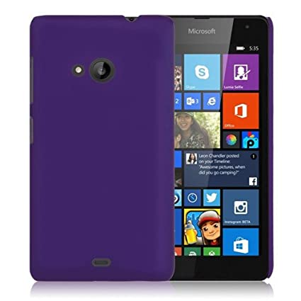 new style 00a22 fd3bb WOW Imagine Matte Rubberised Hard Case Back Cover for Nokia Microsoft Lumia  535 (Purple)
