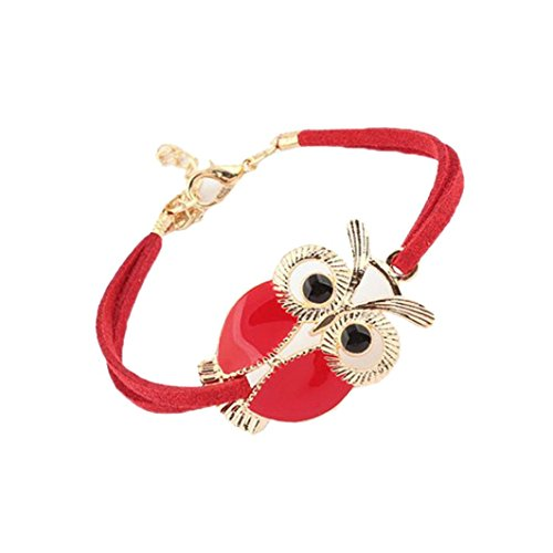 Novelty Perlina - Molyveva Fashion Owl Charm Bracelet Gold Polished Novelty Bracelets Lobster Clasp Women Girls Jewelry (Red)