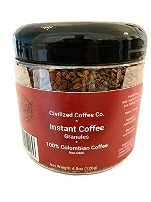 Instant Coffee Granules, Non GMO, 100% Colombian Arabica Coffee (4.5oz) by Civilized Coffee
