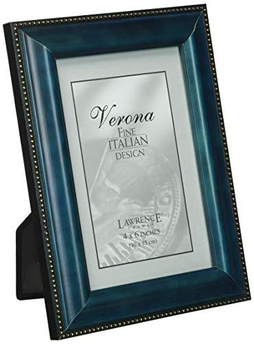 - Lawrence Frames Blue Wood 4x6 Picture Frame - Gold Bead Design