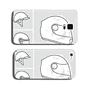 Motorcycle helmets vector set cell phone cover case iPhone6 Plus