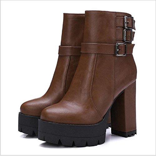 Zapatos de tacón altos para mujer lado cremallera cordones botines brown