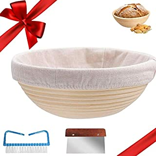 10 Inch Round Bread Banneton Proofing Basket Set- Baking Bowl -Dough Gifts for Bakers Proving Baskets for Splinter-Free Sourdough Bread Baskets with Linen Cloth Liner,Clean Brush,Dough Scraper.