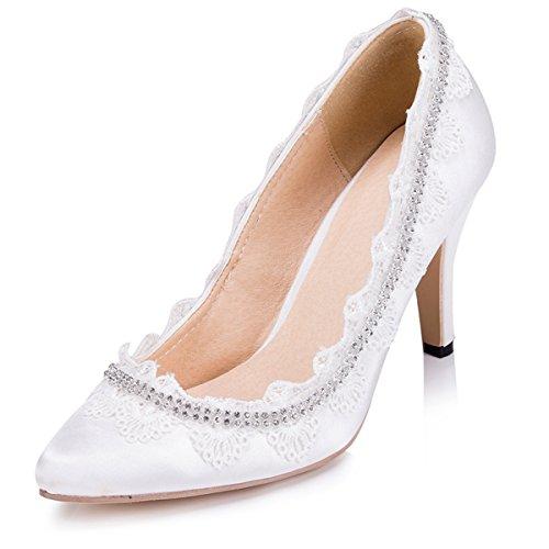 Kevin Fashion Zms1502 Cadenas Para Mujer De Satén Nupcial Del Banquete De Boda De Noche Bombas De Baile Zapatos De Marfil