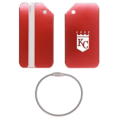 (MLB Kansas City Royals STAINLESS STEEL - ENGRAVED LUGGAGE TAG - SET OF 2 (SCARLET RED) - FOR ANY TYPE OF LUGGAGE, SUITCASES, GYM BAGS, BRIEFCASES, GOLF BAGS)