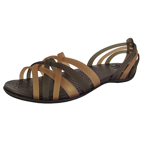 Crocs Womens Huarache Flat Open Toe Sandal Shoes, Bronze/Espresso, US 6 (Crocs Open Toe Wedge)